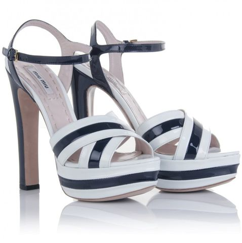 Miu,-,Two-tone,Patent,Leather,Sandals,Miu Miu - Two-tone Patent Leather Sandals