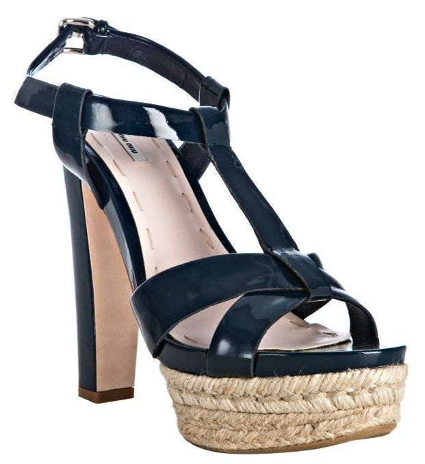 Miu Miu - Navy Patent Leather Jute Platform Sandals - product images  of