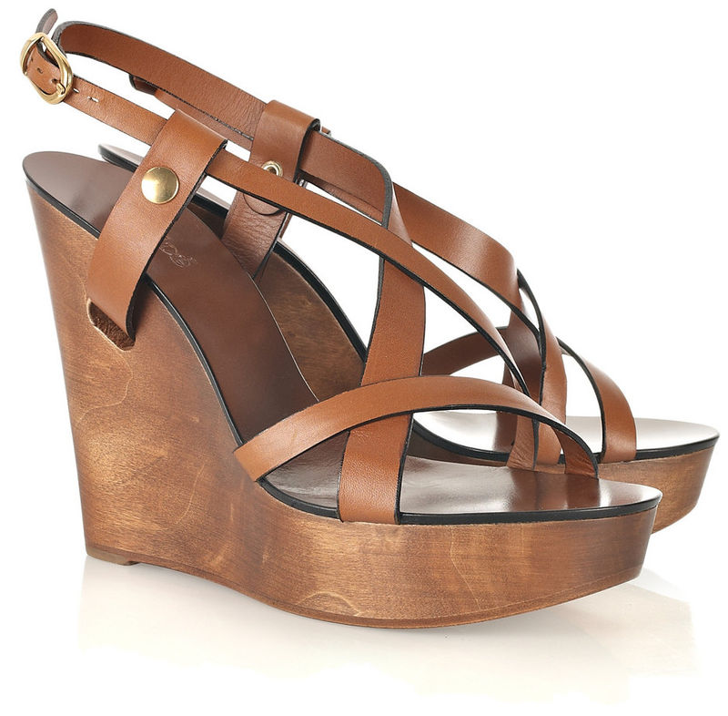 Chloé - Wooden Wedge Leather Sandals - Cookoo