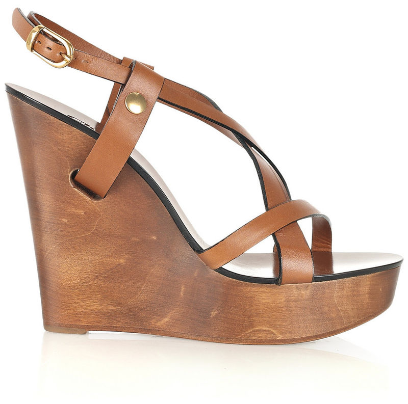 Chloé Leather Wooden Sandals extremely online 1hMh6XYqcs