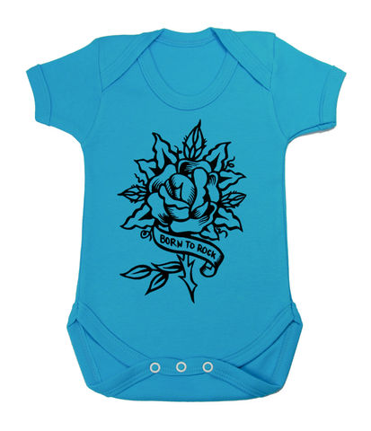 Born,to,Rock,-,Turquoise,Noise,Edition,Children,Baby,Bodysuit,Baby_bodysuit,baby_onesie,onesie,baby_grow,Born to rock, Rock baby wear, Tattoo Baby