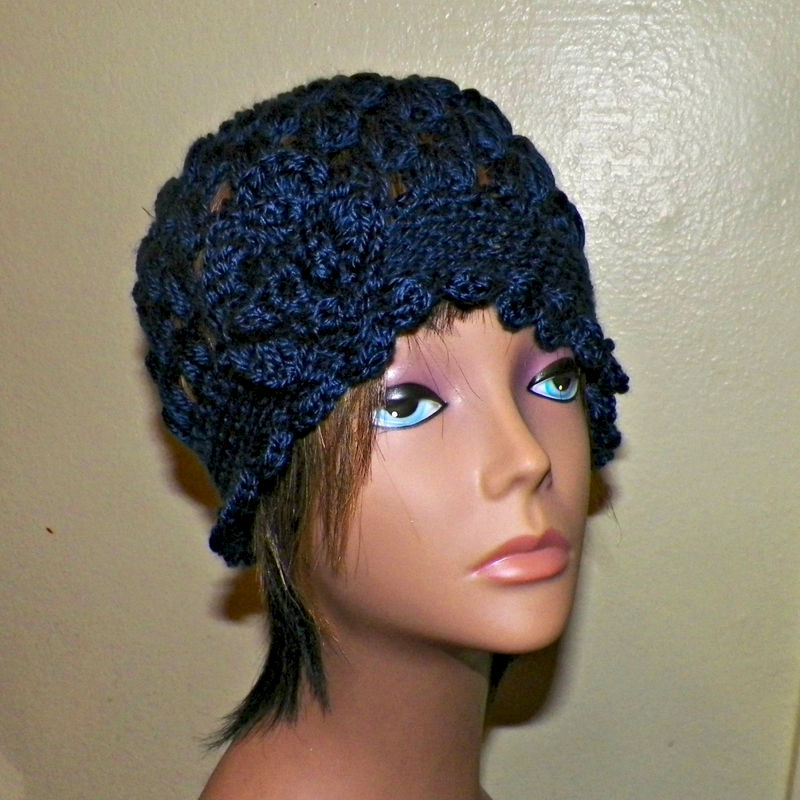 Navy Blue Cloche Hat Flapper Womens Downton Abby Freeform Beanie