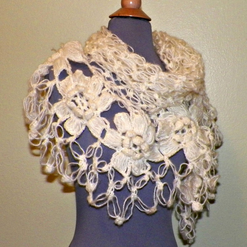 Flower Lace Shawl Crochet Pattern Favecrafts : Mohair Crochet Shawl Triangle Ivory Off White Cream Lace ...