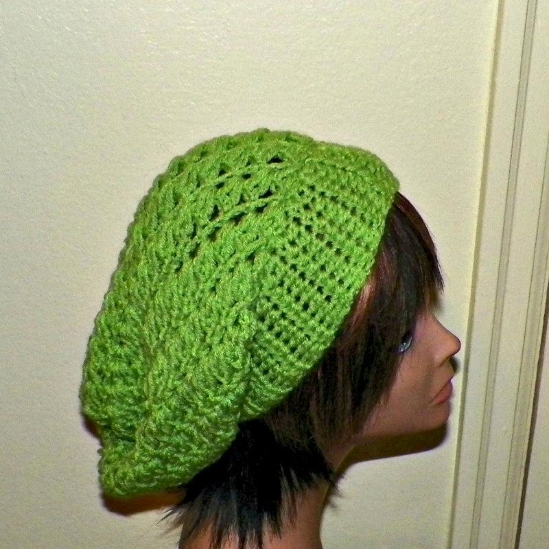 Summer Beanie Hat Crochet Pattern : Slouchy Hat Summer Crochet Womens Tam Beret Boho Chunky ...