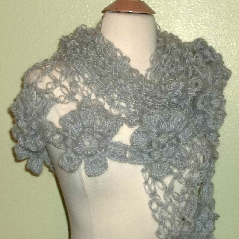 Flower Lace Shawl Crochet Pattern Favecrafts : Gray Mohair Crochet Shawl Triangle Lace Bridal Flower ...