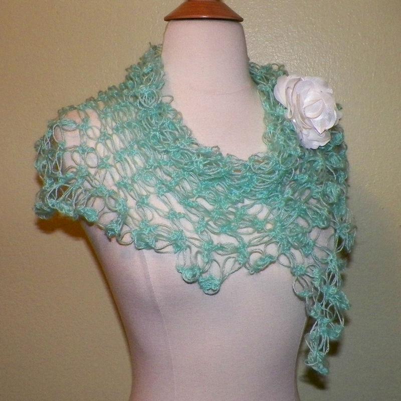 Irish Crochet Lace Shawl Pattern : Shawl Triangle Scarf Blue Irish Boho Crochet Mohair Lace ...