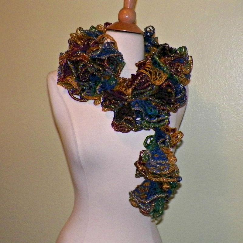 Gold Blue Ruffle Sashay Scarf Crochet Boa Infinity 60 Inches X Long