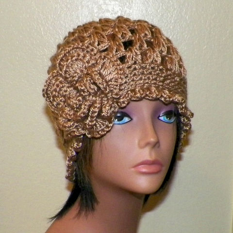 Purple Beanie Hat Cloche Headband Irish Lace Gypsy Crochet
