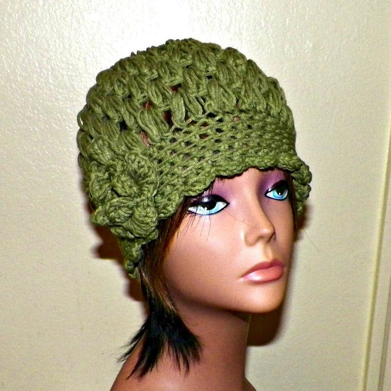 Womens Cloche Hat Flapper Downton Abby Olive Green Freeform Beanie Crochet  Flower Gatsby Bucket 1920s Style - Wild Irish Rose Crochet 1a9710b549b
