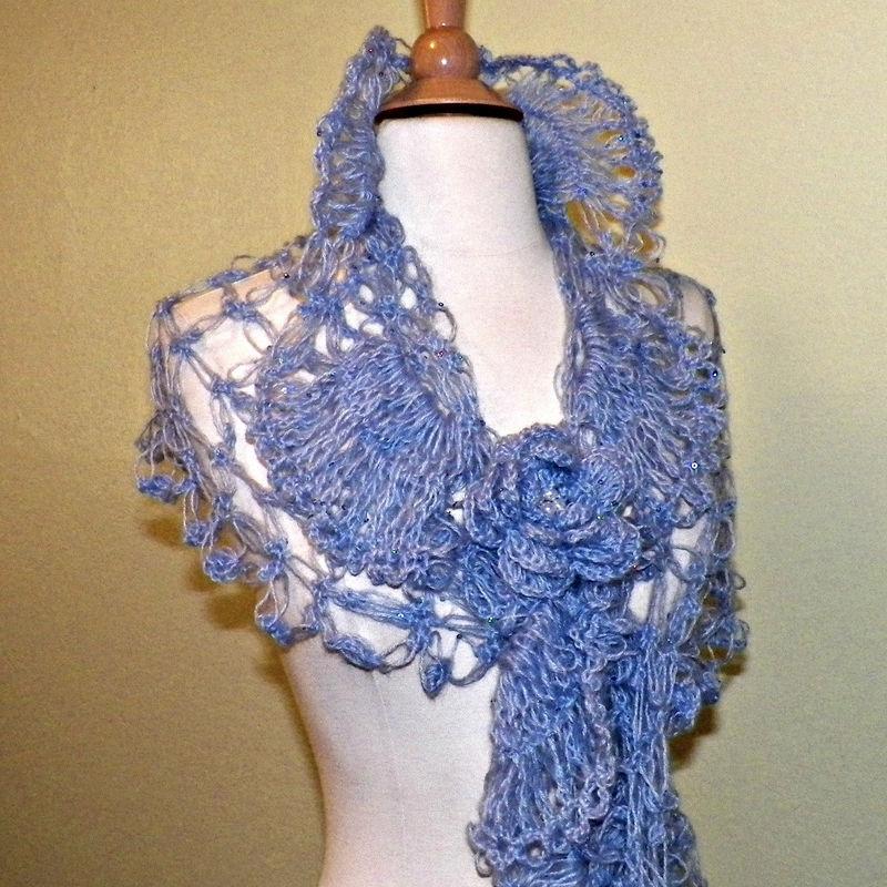 Bridal Shawl Triangle Blue Flower Crochet Mohair Sequin ...