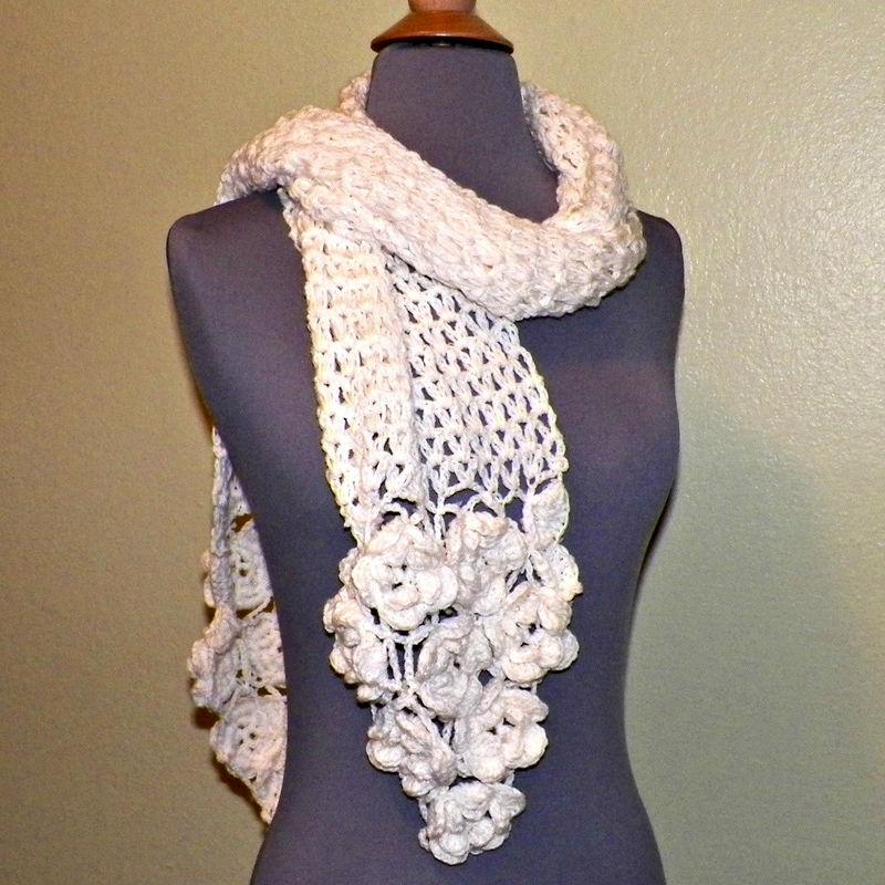Irish Crochet Lace Shawl Pattern : Ivory Flower Scarf Stole Shawl Irish Crochet Lace Freeform ...