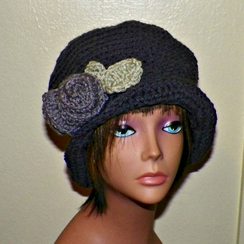 Gray Womens Cloche Hat Downton Abby Flapper Crochet Gatsby Bucket Charcoal  Top Hat 1920s Style - Wild Irish Rose Crochet 5b23ea55acdd