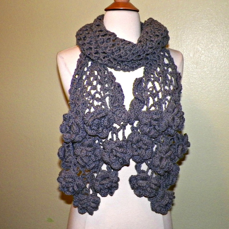 Gray Flower Scarf Stole Shawl Irish Crochet Lace Freeform ...