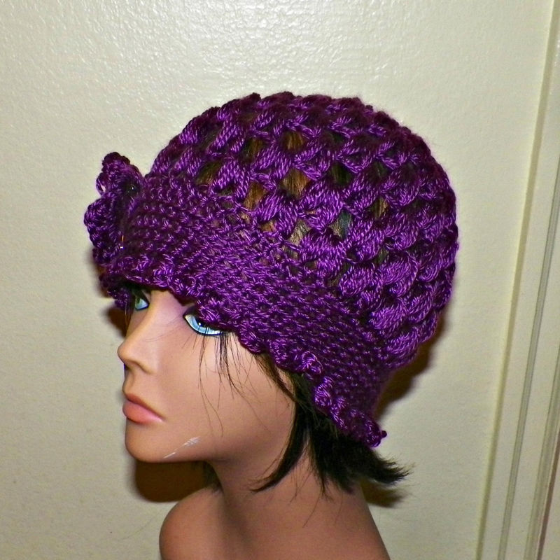 Sale Dark Purple Cloche Hat Flapper Womens Downton Abby Freeform