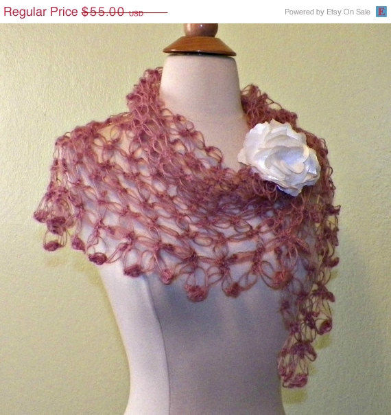 Sale shawl triangle scarf rose pink crochet mohair lace for Crochet wedding dresses for sale