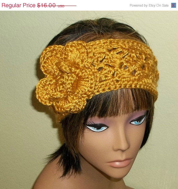 Crochet Hair On Sale : Sale- Earwarmer Flower Headband Gold Crochet Hair Band Adjustable ...