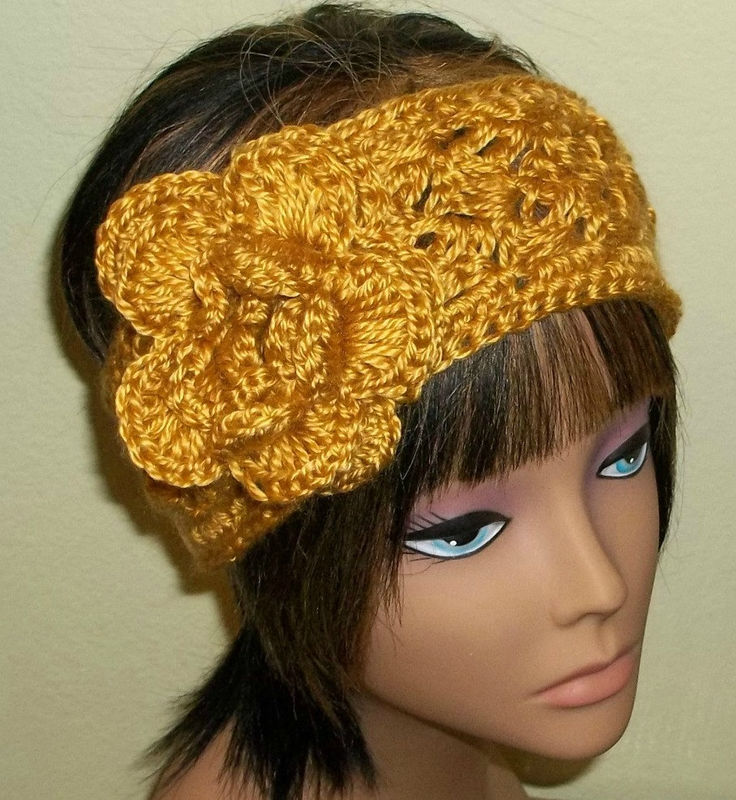 Crochet Hair Sale : Sale- Earwarmer Flower Headband Gold Crochet Hair Band Adjustable ...