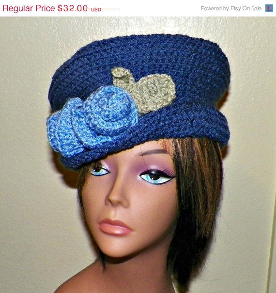 Sale- Blue Cloche Hat Womens Downton Abby Flapper Crochet Gatsby Bucket Top Hat  1920s Style ae81857561cb