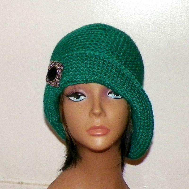 Green Cloche Hat Flapper Womens Button Downton Abbey Freeform Emerald ...