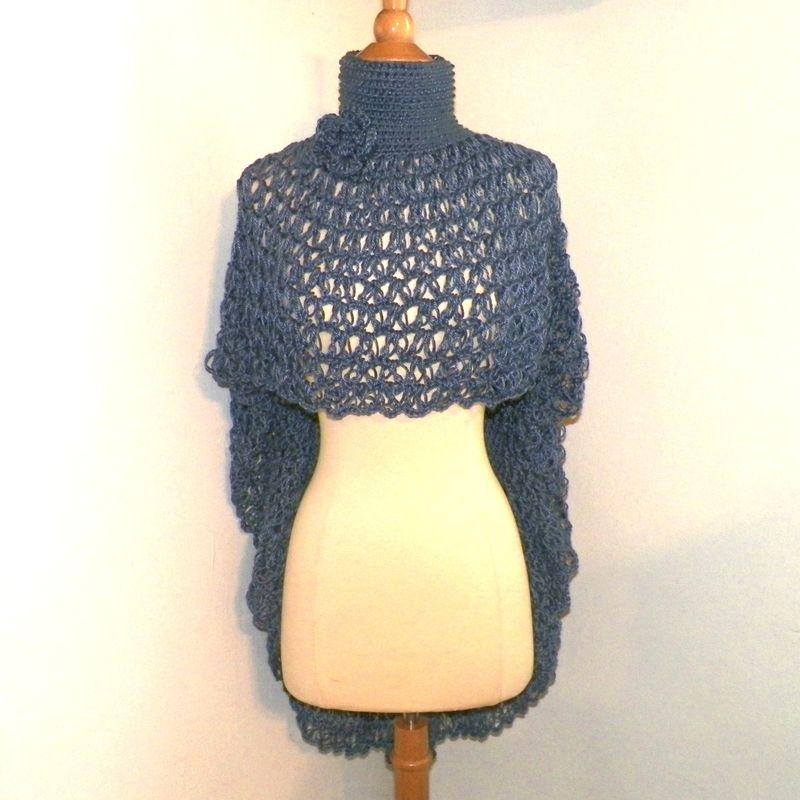 Ponhco Blue Turtle Neck Cowl Boho Cape Shawl Long Capelet Crochet Knit Freefo...