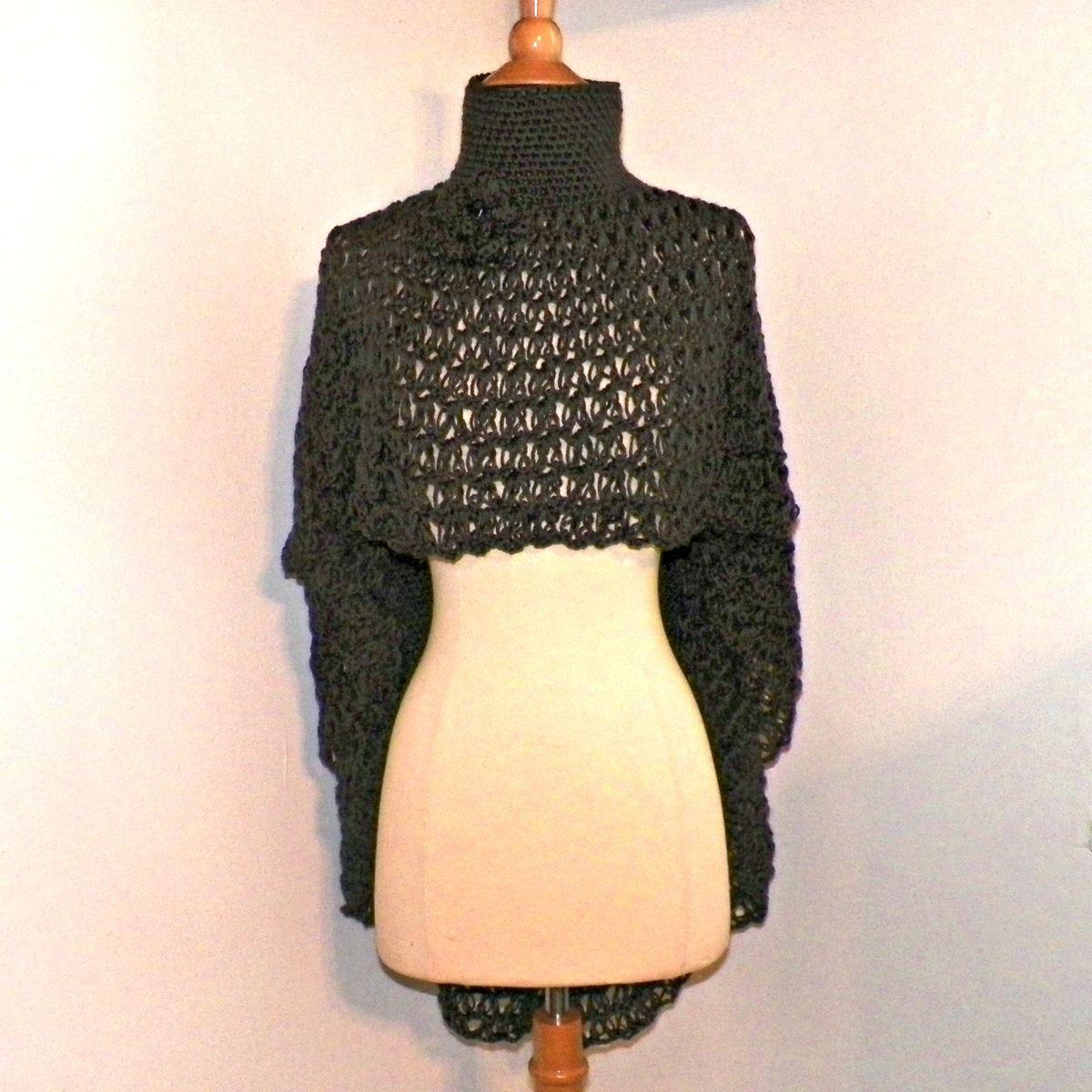 Knitting Pattern Turtleneck Capelet : Poncho Cowl Turtle Neck Boho Cape Gray Shawl Long Capelet Crochet Dark Gray K...