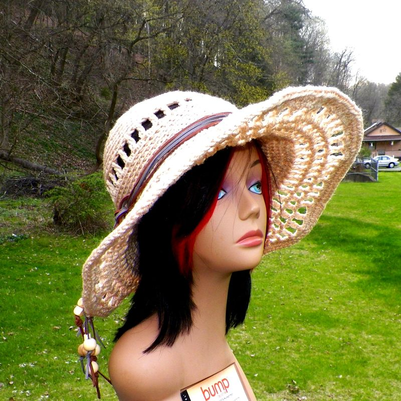 Tan Sun Hat Summer Sunhat Beige Straw Color Wide Brimmed Garden Hippie  Floppy Boho Wide Brim Crochet Womens Beach Hat Sun Bonnet - Wild Irish Rose  Crochet 4d1e14192dd