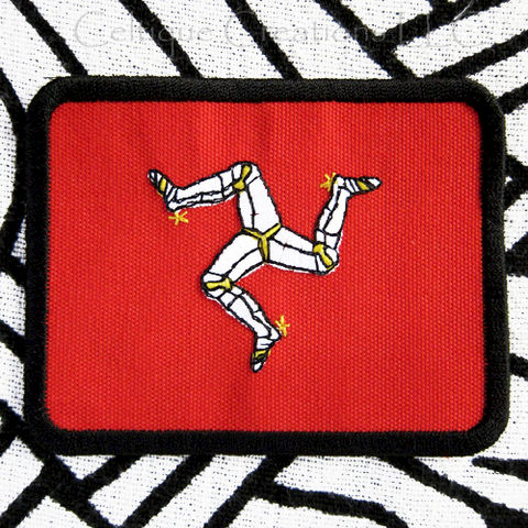 Isle,Of,Man,Flag,Sew,On,Badge,Hanmade,Manx,Triskelion,Patch,Isle of Man Flag, Manx Flag, Isle of Man Patch, Isle of Man Badge.