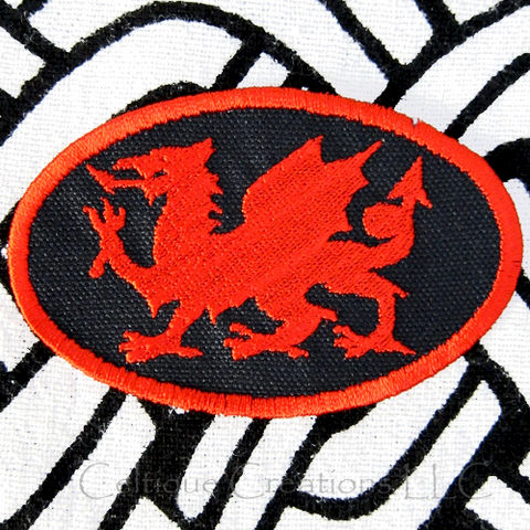 Heraldry,Dragon,Sew,On,Patch,Welsh,Handmade,Badge,Red,Black,Welsh Dragon, Heradry, Fantasy Dragon, Wales, Welsh Patch, Welsh Badge, Handmade Patch, Celtic Patch