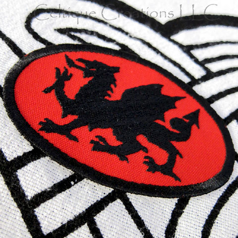 Black,on,Red,Dragon,Sew,On,Patch,Heradic,Welsh,Handmade,Badge,Red and Black Patch, Welsh Dragon, Wales, Fantasy Dragon, Dragon Patch, Dragon Badge, Sew On Patch