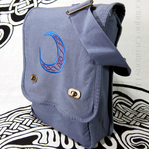 Celtic,Moon,Field,Messenger,Bag,Blue,and,Purple,on,Denim,Cotton,Celtic Moon, Celtic Bag, Field Bag, Vertical Messenger Bag, Celtic Knotwork, Cotton Canvas Messenger, Celtic Embroidered Bag