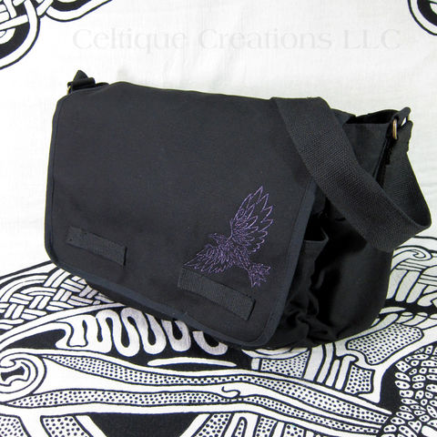 Celtic,Tribal,Raven,Black,Messenger,Bag,Cotton,Canvas,Metallic,Purple,Thread,Celtic Raven, Celtic Raven Bag, Tribal Raven Messenger Bag, Black and Purple Raven Bag, Celtic Metallic Raven Bag, Celtic Raven Messenger