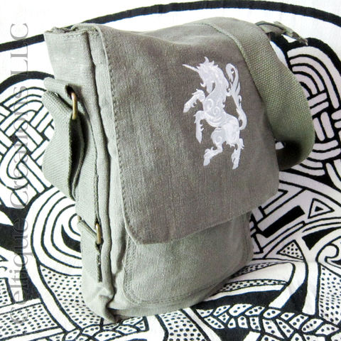 Unicorn,Padded,Tech,Bag,Green,Cotton,Canvas,Verticle,Tablet,Messenger,Unicorn bag, Unicorn Tablet Bag, Scottish National Animal, Cotton Canvas Tablet Bag