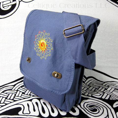 Celtic,Spiral,Sun,Blue,Vertical,Messenger,Cotton,Canvas,Celtic Sun Bag, Sun Bag, Celtic Vertical Messenger, Celtic Cotton Canvas Messenger, Field Bag