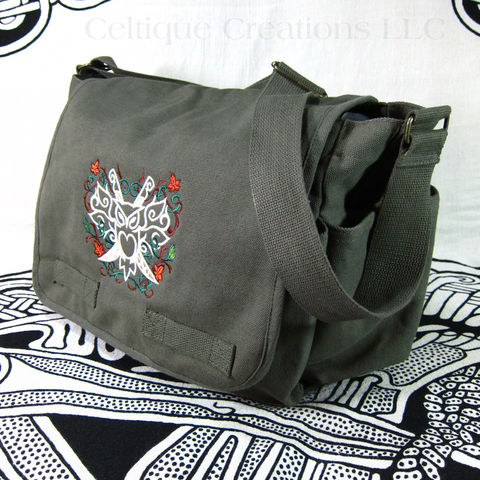 Modern Fantasy Owl Messenger Bag Green Cotton Canvas With Embroidery - product images  of