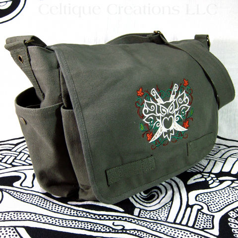 Modern,Fantasy,Owl,Messenger,Bag,Green,Cotton,Canvas,With,Embroidery,Owl Bag, Owl Messenger Bag, Cotton Messenger Bag with Owl, Fantasy Messenger Bag
