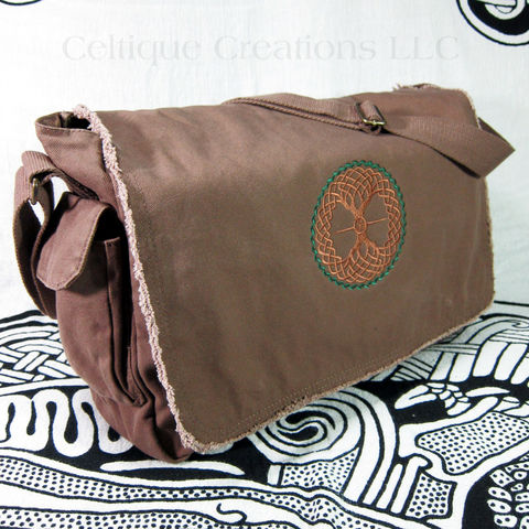 Celtic,Tree,of,Life,Messenger,Bag,Brown,Cotton,Canvas,Celtic Tree of Life Messenger Bag, Celtic Tree Bag, Tree of Life Messenger Bag, Cotton Canvas Messenger Bag