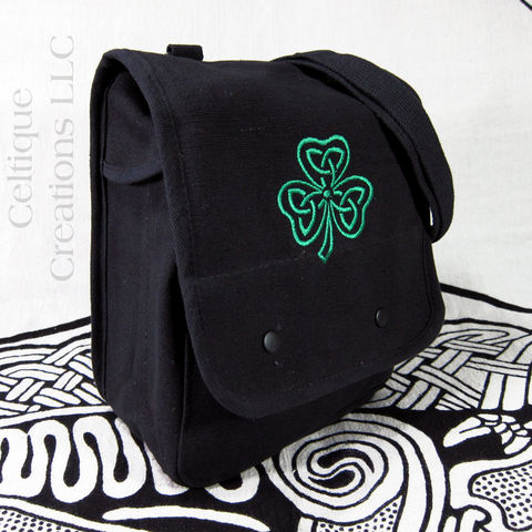 Celtic,Shamrock,Embroidered,Small,Messenger,Bag,Black,Cotton,Canvas,Celtic Shamrock Bag, Irish Shamrock Bag, Shamrock Vertical Messenger, Celtic Messenger, Celtic Knot Vertical Messenger, Black Cotton Canvas Bag
