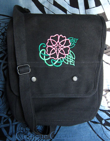 Wild,Celtic,Rose,Vertical,Messenger,Bag,Black,Cotton,Canvas,with,Pink,and,Green,Embroidery,Celtic Flower Bag, Wild Rose Messenger, Celtic Knot Vertical Messenger Bag, Map Case Bag with Celtic Design, Celtic Messenger