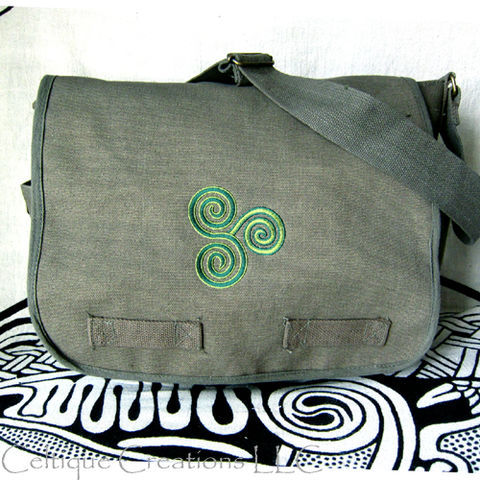 Celtic,Triskele,Messenger,Bag,Cotton,Canvas,Triskelion,Embroidery,Triskele Bag, Triskelion Bag, Celtic Triskele Messenger Bag, Celtic Cotton Canvas Messenger Bag