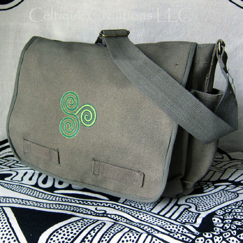 Celtic Triskele Messenger Bag Cotton Canvas Triskelion Embroidery - product images  of