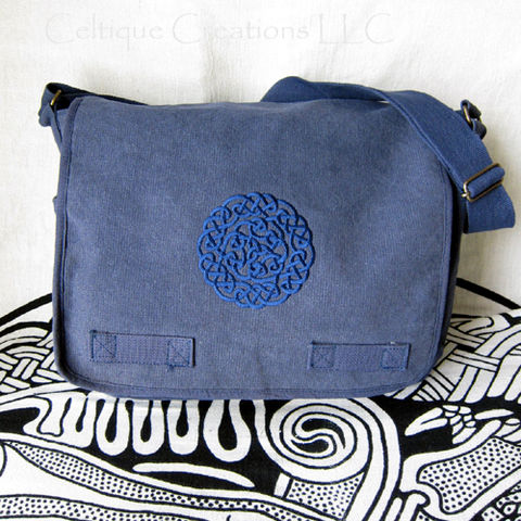 Celtic,Knot,Messenger,Bag,Heavy,Cotton,Canvas,Blue,Trinity,Embroidery,Celtic Knotwork Bag, Celtic Messenger Bag, Celtic Cotton Canvas Bag, Knotwork Messenger, Celtic Knot Messenger Bag