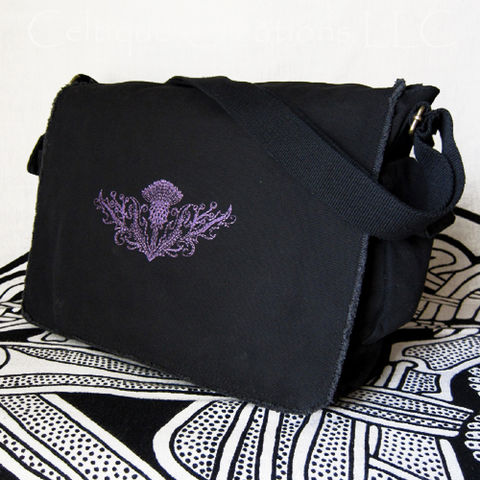 Scottish,Thistle,Messenger,Bag,Black,Cotton,Canvas,Flower,Embroidery,Scottish Messenger Bag, Thistle Messenger Bag, Scotland National Flower, Thistle Bag