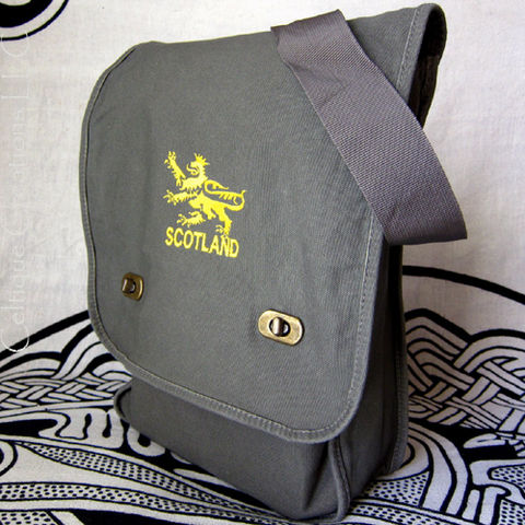 Scotland,Lion,Field,Messenger,Bag,Green,Cotton,Canvas,Gold,Embroidery,Scottish Messenger Bag, Scotland Lion, Scotland Bag, Scottish Lion Bag, Vertical Messenger, Lion Messenger Bag