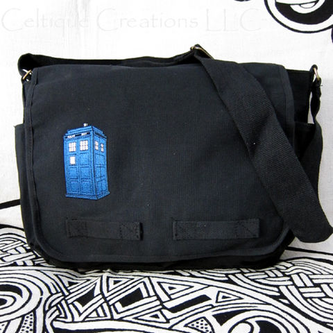 Blue Police Box Messenger Bag Black Cotton Canvas UK Embroidery - product images  of