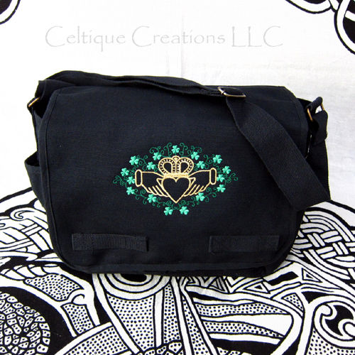 Claddagh Shamrock Messenger Bag Black Cotton Gold Metallic Embroidery - product images  of