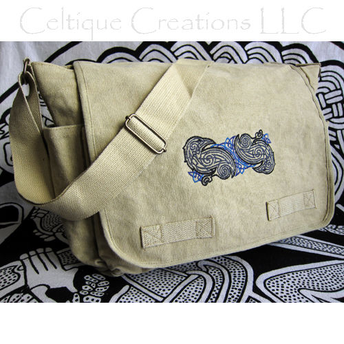 Celtic Norse Ravens Messenger Bag Khaki Cotton Canvas Black Embroidery - product images  of