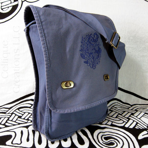 Modern,Scottish,Thistle,Verticle,Messenger,Bag,Blue,Cotton,Canvas,Modern Scottish Thistle, Scottish Thistle Bag, Thistle Field Bag, Scottish Flower Vertical Messenger, Scottish Thistle Messenger Bag