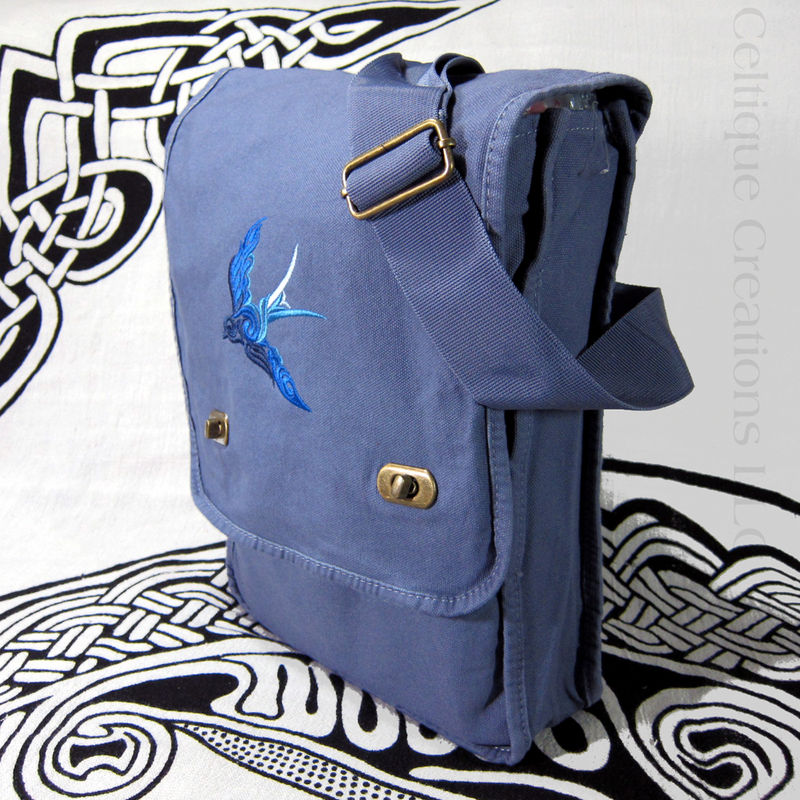 Celtic Spiral Swallow Vertical Messenger Bag Blue Ombre Cotton Canvas - product images  of