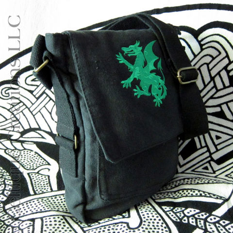 Dragon,Padded,Tech,Bag,Black,Cotton,Canvas,Tablet,Messenger,Purse,Dragon Tablet Bag, Dragon Purse, Embroidered Dragon Bag, Tech Bag, Black Canvas Bag, Heraldic Dragon Bag