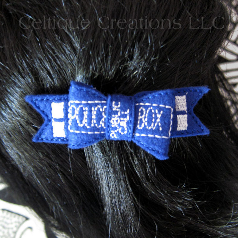 UK Police Box Hair Bow Barrette Handmade Blue Felt Fun Hair Accessory - product images  of